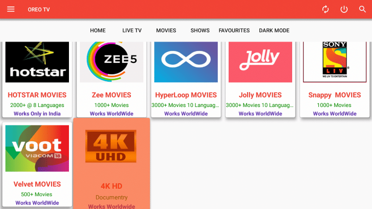 There is also a decent selection of Documentaries to choose from within Oreo TV.