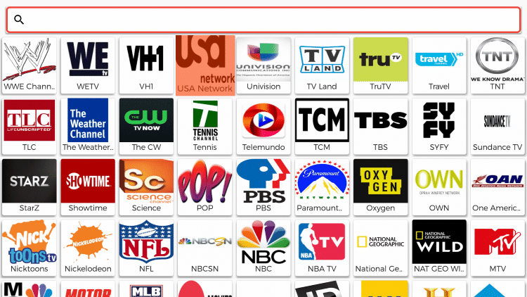 You will then notice the popular USA channels to choose from in a variety of categories.