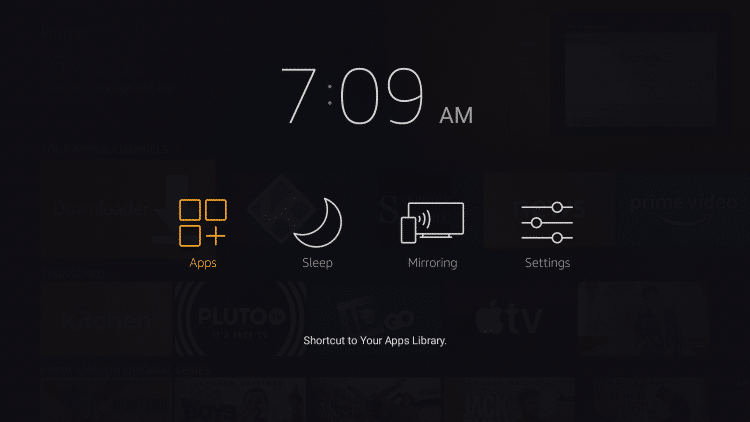 Next hold down the Home button on your remote, and select Apps.