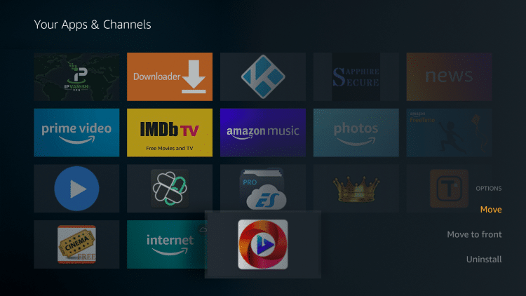 Scroll to the bottom to hover over Oreo TV and click Options (3 horizontal lines). Then choose Move.
