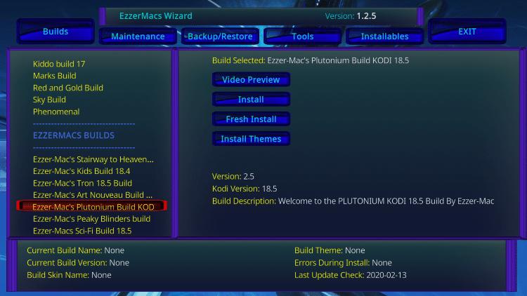 """Choose Ezzer-Mac's Plutonium Build KOD option on the left menu under """"Ezzermacs Builds."""""""