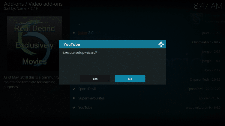 If prompted with this message, just select No.