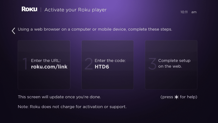 instructions to activate Roku device