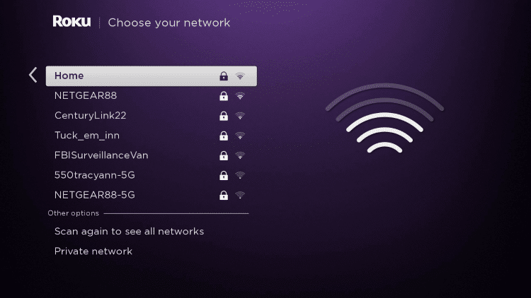 select your wireless network