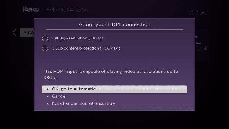 choose OK, go to automatic