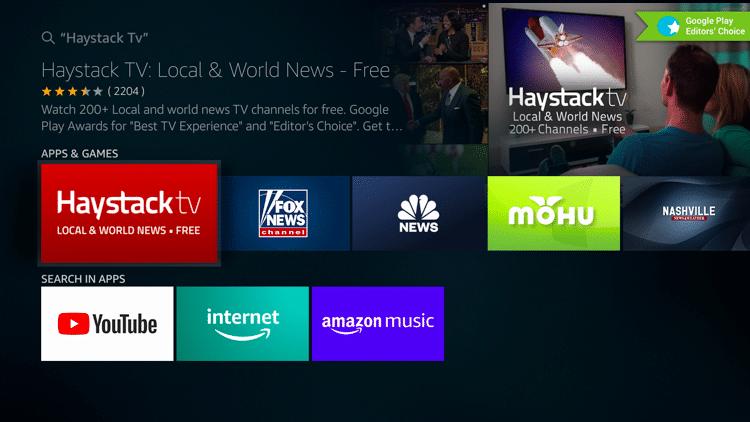 Step 3 - Haystack TV APK Firestick:Fire TV Installation Guide