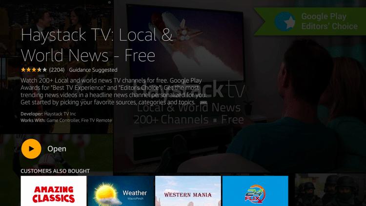 Step 5 - Haystack TV APK Firestick:Fire TV Installation Guide