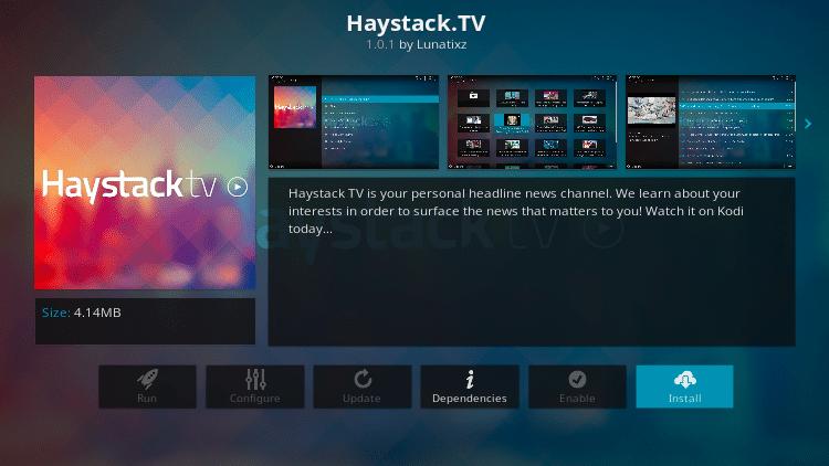 Step 6 - Haystack TV Kodi Add-on Installation Guide