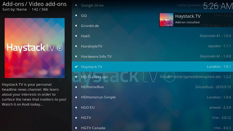 Step 9 - Haystack TV Kodi Add-on Installation Guide