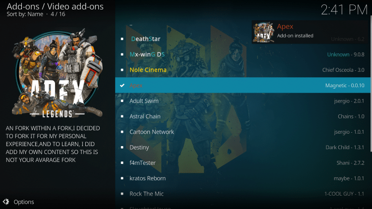 Wait for Apex Add-on installed message to appear