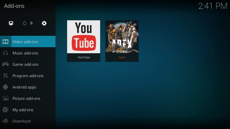 Choose Video add-ons