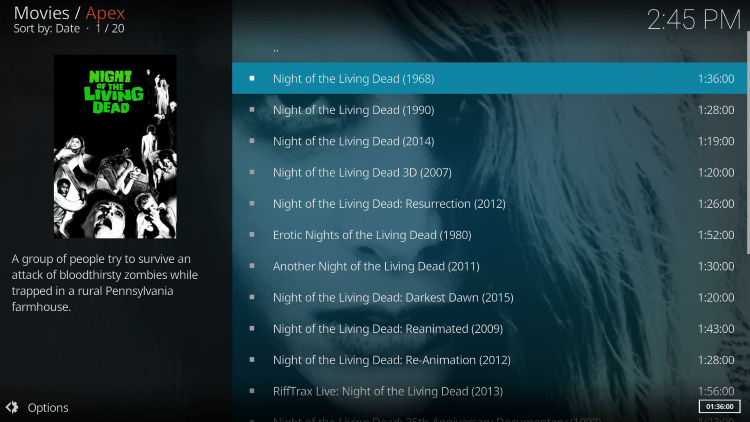 Choose the 1968 version of Night of The Living Dead.