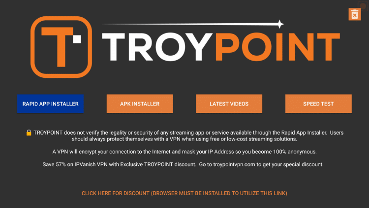 On the home screen of the TROYPOINT App select Rapid App Installer.