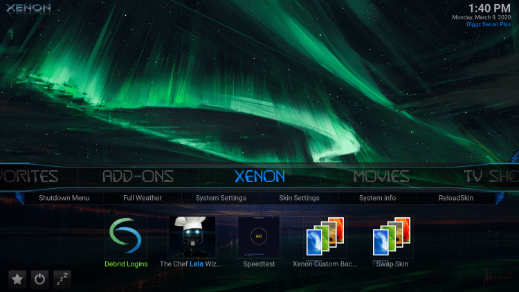 That's it! The Diggz Xenon Kodi build is now successfully installed.