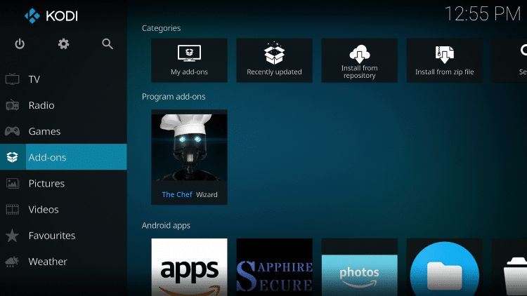 Click the back button on your remote until you reach the Home screen of Kodi. Click Add-ons
