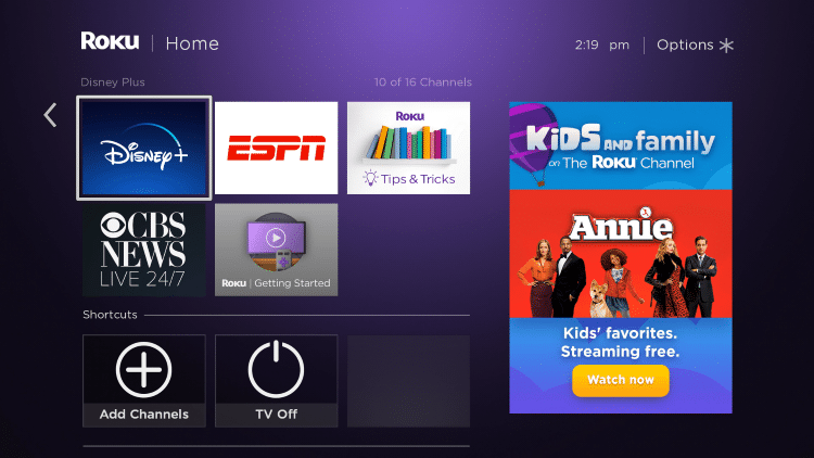 Scroll to the right within your channels list, then scroll down until you find Disney Plus.