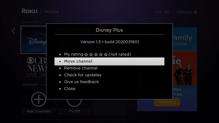 If you want to move your Disney Plus Roku channel towards the top select Move channel