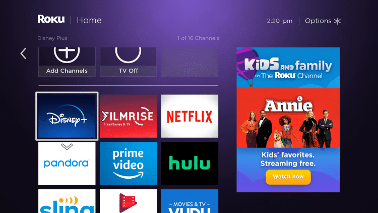 Click the OK button on your remote to place Disney Plus where you prefer.