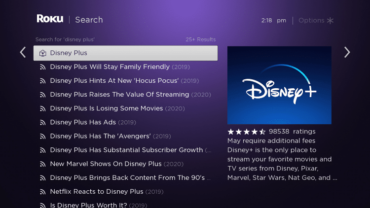 Click the first Disney Plus option that appears