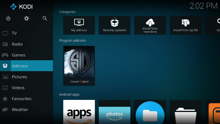 Go back to the home screen of Kodi and select Add-ons.