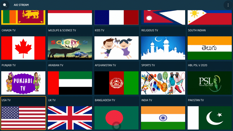 Choose your preferred country for channels. We chose the USA TV category.