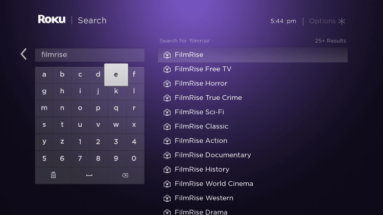 "Enter in ""Filmrise"" within the search bar"
