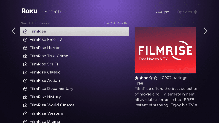 Click the first FilmRise option that appears