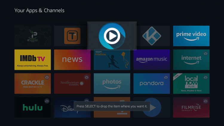 Drag FreeFlix TV to the top of your apps list and click to drop