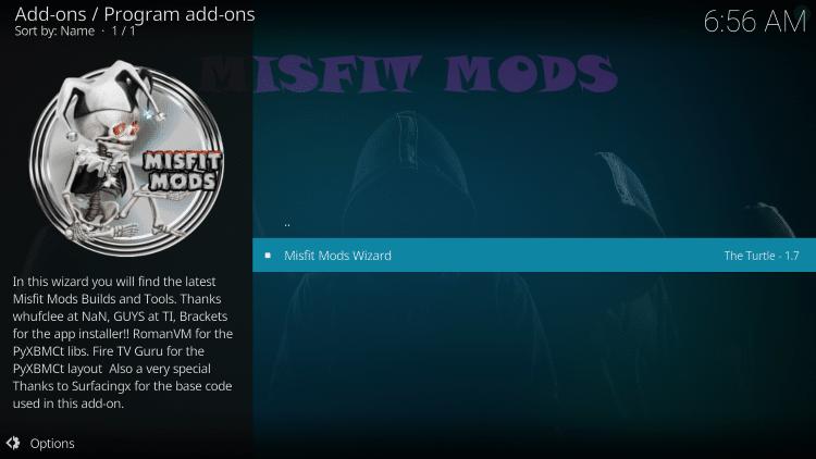 Click Misfit Mods Wizard
