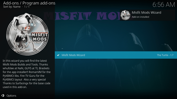 "Wait for the ""Misfit Mods Wizard Add-on installed"" message to appear"