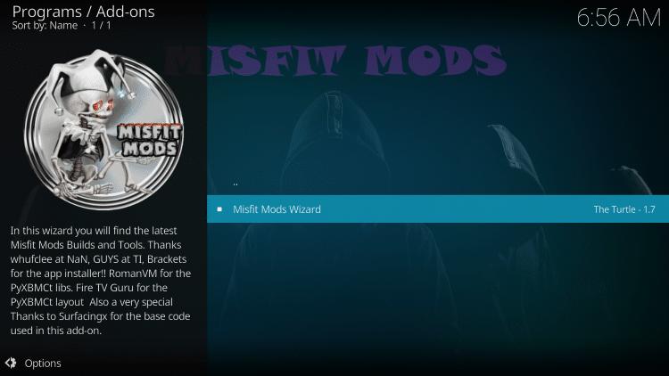 Select Misfit Mods Wizard