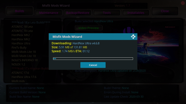 Wait for the Hard Nox Build to download