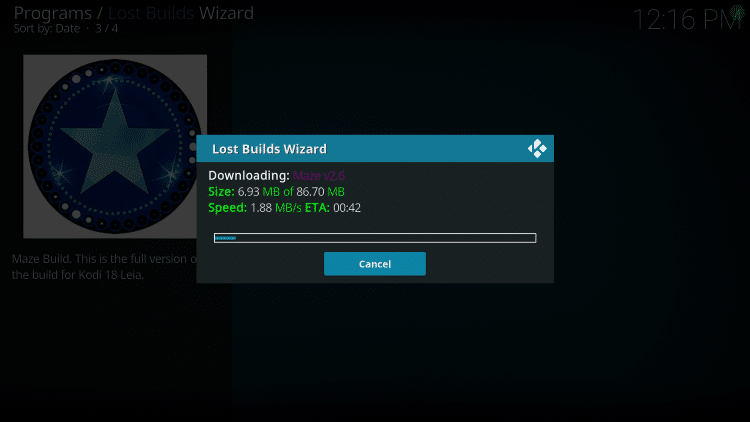 Wait for the Maze Build to download