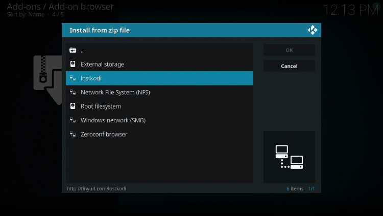"""Choose """"lostkodi"""" or another name you assigned the media source in the previous step"""