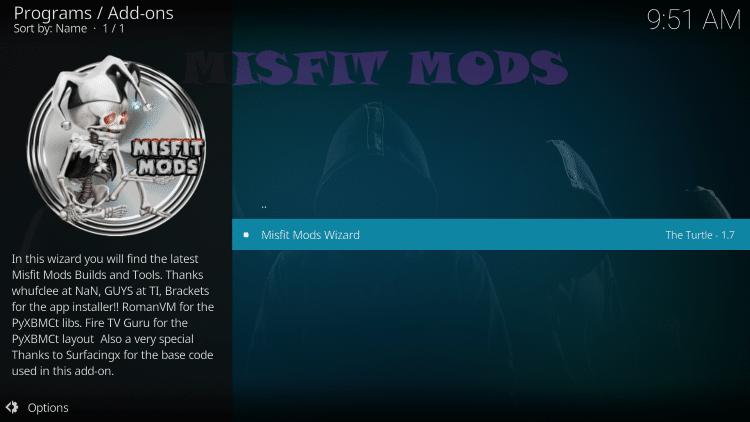 Choose Misfit Mods Wizard
