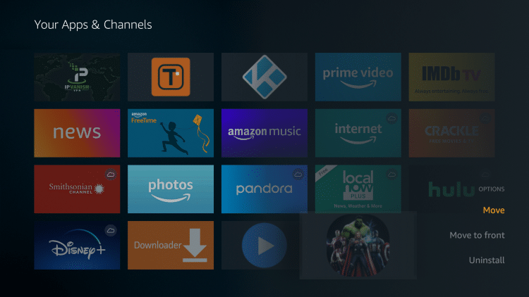 Scroll to the bottom and hover over Newest Movies HD. Click the Options button on your remote (three horizontal lines). Then select Move.