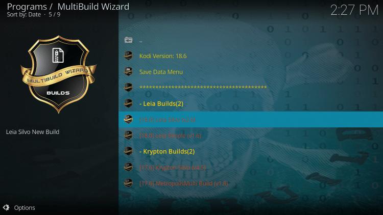 Choose the 18.0 Leia Silvo build.