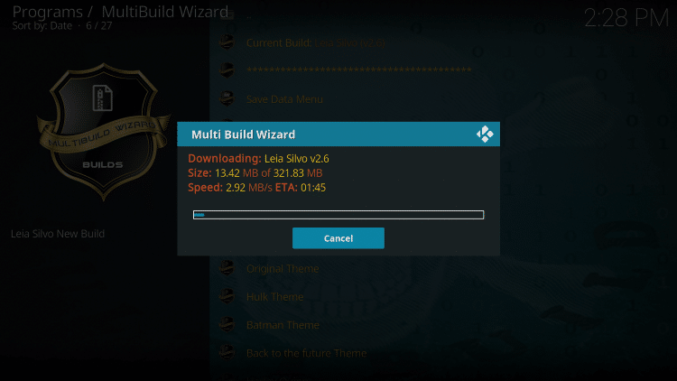 Wait for the Silvo Build to download
