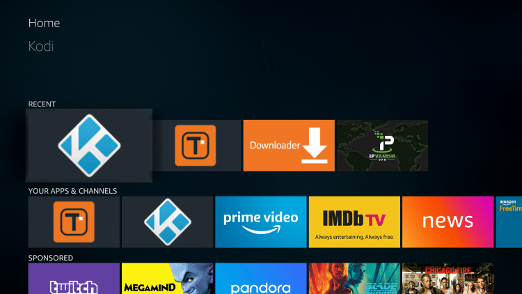 Once the download is complete, reopen Kodi from the Home menu