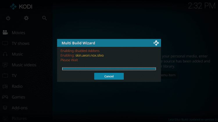 The Silvo Kodi Build will begin to launch. If you get this loading screen just wait a few seconds