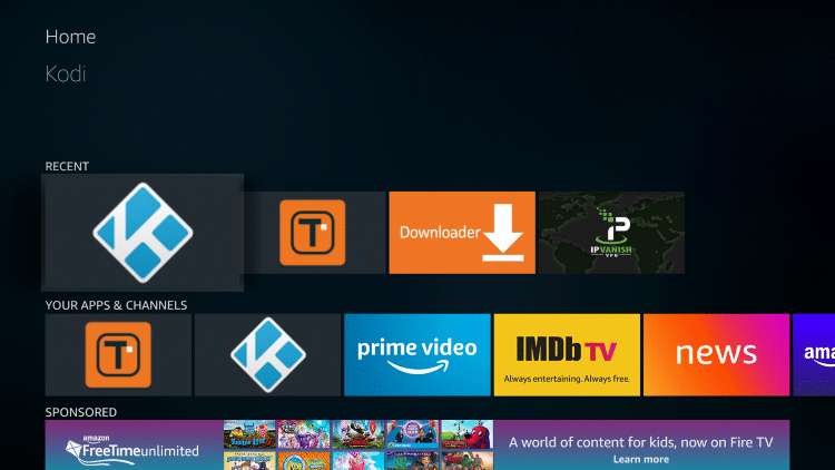 Re-open Kodi to launch the Slamious build.