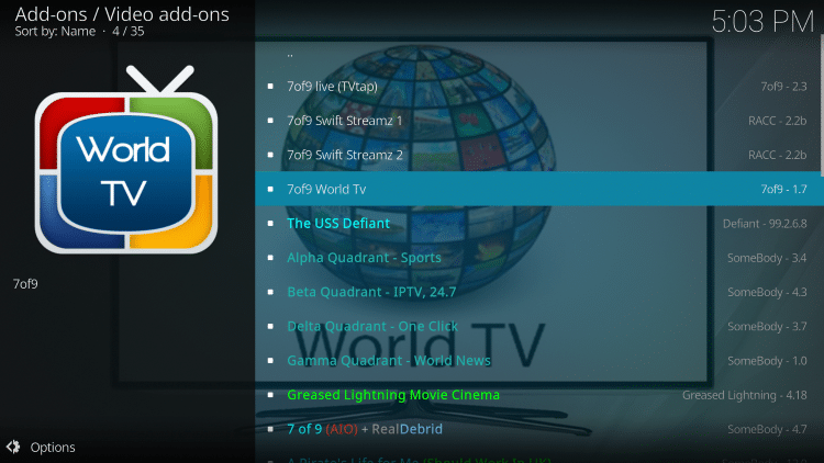 Select 7of9 World TV