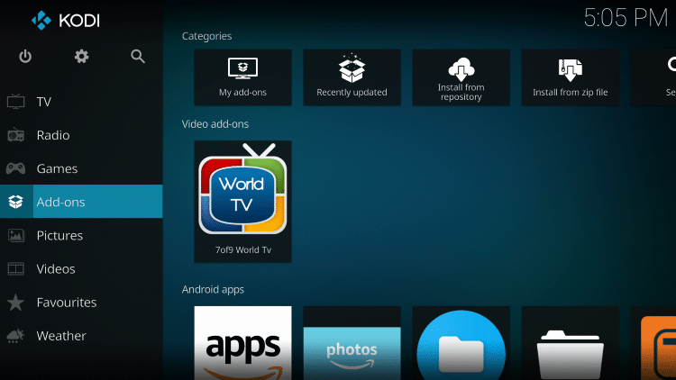 Go back to the Kodi main page and click Add-ons.