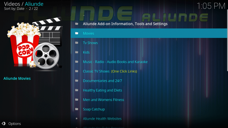 Installation of the Aliunde Kodi Addon is now complete!
