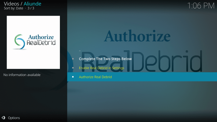 Select Authorize Real Debrid