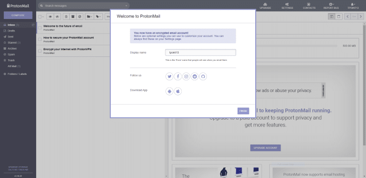Wait a few seconds for your ProtonMail account to be created