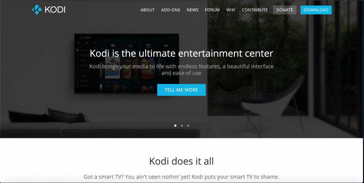 Once on the Kodi website click Download in the upper right of your screen.