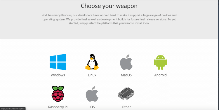 "Scroll down and click the MacOS icon under ""Choose your weapon."""