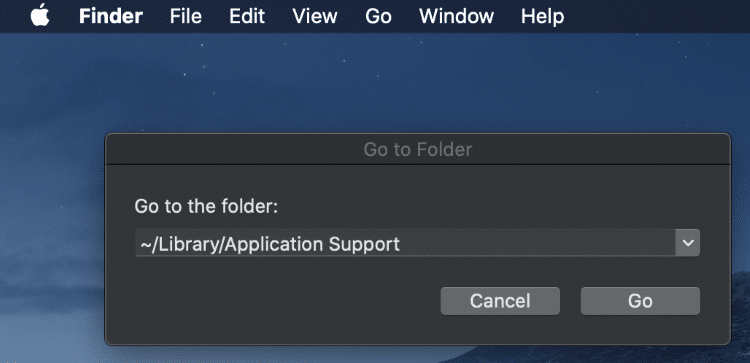 """Enter in the following text - """"~/Library/Application Support"""""""