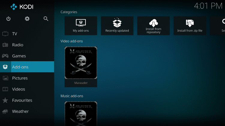 Once the Marauder Video add-on has been installed go back to the Home screen of Kodi. Click Add-ons